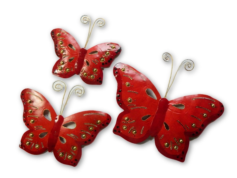 Metal Butterfly Wall Art - Red - Set of 3